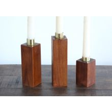 Set of 3 Danish Modern Wood Block Candle Holders