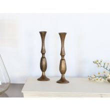Set of 2 Aged Brass Mid-Century Candle Holders, Vintage 1950's