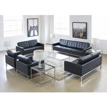 Black Leather Florence Knoll Style Sofa