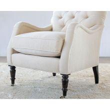 Tightback Tufted Club Chair in Linato Cream