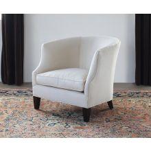 Barrel Back Club Chair in Linato Cream with Black Walnut Legs