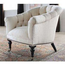Tufted Club Chair in Linato Cream with Brass Nailhead Trim