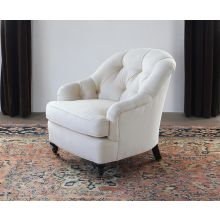 Tufted Back Club Chair in Linato Cream with Black Walnut Turned Legs