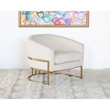 Barrel Back Cream Boucle Club Chair With Satin Brass