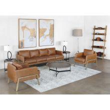 Natural Oak Track Club Chair In Butterscotch Leather