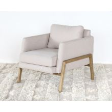 Natural Oak Track Club Chair with Ivory Upholstery