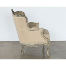 Antiqued Louis Club Chair With Taupe Upholstery