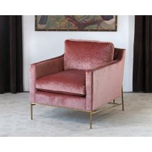 Velvety Blush Rose Club Chair W/Antique Brass Base