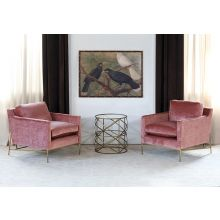 Velvety Blush Rose Club Chair W/Antique Brass Base