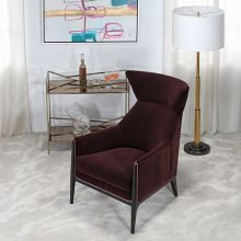 Merlot Velvet Wing Chair