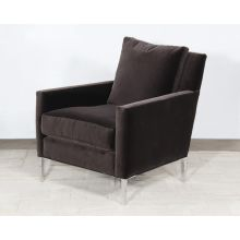 Modern Club Chair In Smoke Gray Velvet