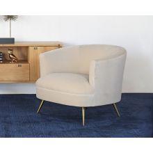 Curved Club Chair W/Tight Back & Antique Brass Leg