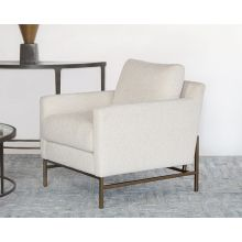 Natural Boucle Club Chair On Bronze Iron Base
