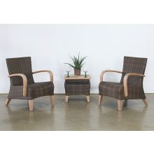 Brown Outdoor Club Chair With Wooden Arms