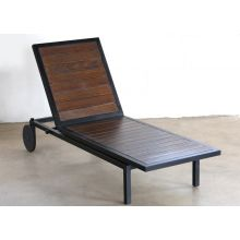 Black Steel and Dark Wood Outdoor Chaise