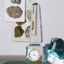 Glass Obelisk with Clock - Cleared Décor