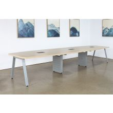 Boat Shaped Conference Table W/Oblique Silver Legs