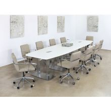 Taupe Leather & Chrome Conference Chair On Casters