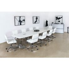 Crescent Shaped White And Silver Reception Desk