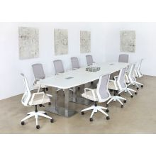 White Conference Chair With Upholstered Sand Seat