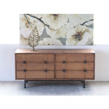 Mid-Century Modern Walnut Console with Square Pattern