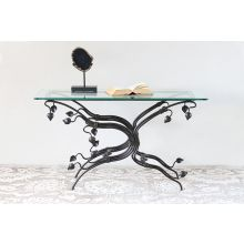 Wrought Iron Vine Frame Console Table with Glass Top