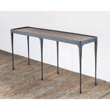Hammered Iron Console with Reclaimed Pine Top
