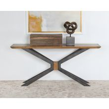 Industrial Iron and Brass Console Table