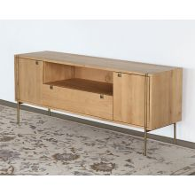 Danish Modern Natural Oak Media Console With Brass