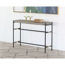 Iron Console Table W/Brass Accents & Concrete Top