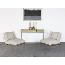 Cream Slipper Chair On Brass Frame