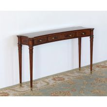 Flame Walnut Console Table With Tapered Legs