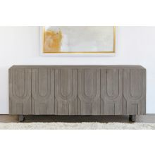 Aged Grey Carved Media Console