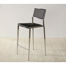 Polished Chrome Counter Chair in Black