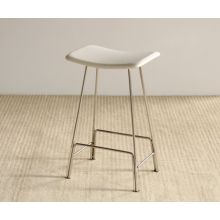 Polished Chrome Backless Counter Stool in White