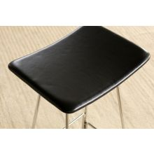 Polished Chrome Backless Counter Stool in Black