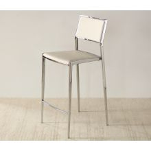 Polished Chrome Counter Chair in White