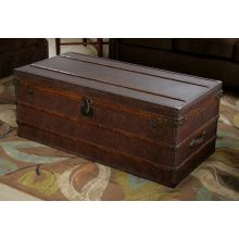 Leather Steamer Trunk Coffee Table