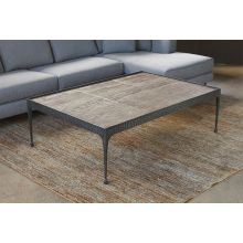 Hammered Iron Coffee Table with Reclaimed Pine Base