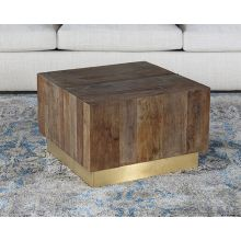Reclaimed Natural Elm Coffee Table with Polished Brass Base