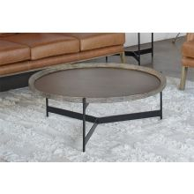 Round Seared Oak Coffee Table with Black Iron Base
