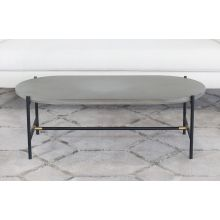 Iron Coffee Table W/Brass Accents & Concrete Top