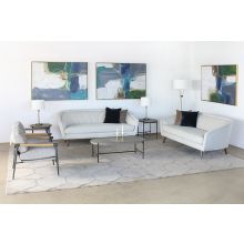 Light Gray Textured Lounge Chair W/Steel Legs