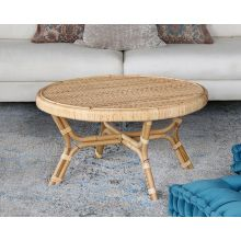 Round Coffee Table In Natural Rattan