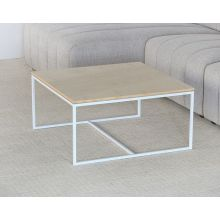 Blonde Top With White Base Square Coffee Table