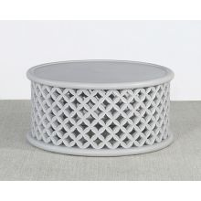 Light Grey Lattice Drum Coffee Table