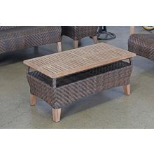 Brown Outdoor Coffee Table With Teak Top
