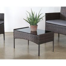 Dark Wicker Coffee Table With Glass Top