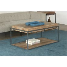 Acacia Wood Coffee Table With Iron Frame