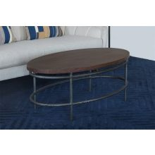 Oval Mango Wood Top Coffee Table With Iron Base